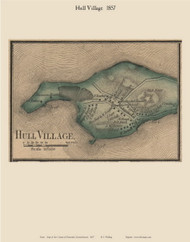 Hull Village, Massachusetts 1857 Old Town Map Custom Print - Plymouth Co.