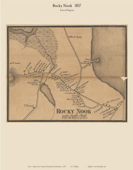 Rock Nook Village, Massachusetts 1857 Old Town Map Custom Print - Plymouth Co.