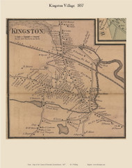 Kingston Village, Massachusetts 1857 Old Town Map Custom Print - Plymouth Co.