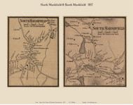 North Marshfield and South Marshfield Villages, Massachusetts 1857 Old Town Map Custom Print - Plymouth Co.