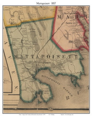 Mattapoisett, Massachusetts 1857 Old Town Map Custom Print - Plymouth Co.