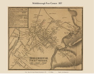 Middleborough Four Corners Village, Massachusetts 1857 Old Town Map Custom Print - Plymouth Co.