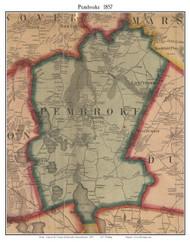 Pembroke, Massachusetts 1857 Old Town Map Custom Print - Plymouth Co.