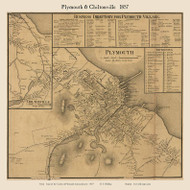 Plymouth and Chiltonville Villages, Massachusetts 1857 Old Town Map Custom Print - Plymouth Co.