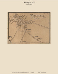 Wellingsly Village, Massachusetts 1857 Old Town Map Custom Print - Plymouth Co.