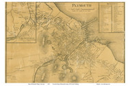 Plymouth Village Closeup, Massachusetts 1857 Old Town Map Custom Print - Plymouth Co.