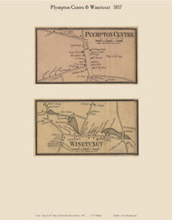 Plympton Centre and Winetuxet Villages, Massachusetts 1857 Old Town Map Custom Print - Plymouth Co.