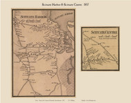 Scituate Harbor and Center Harbor Villages, Massachusetts 1857 Old Town Map Custom Print - Plymouth Co.