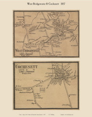West Bridgewater and Cochesett Villages, Massachusetts 1857 Old Town Map Custom Print - Plymouth Co.