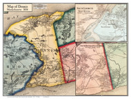 Dennis Poster Map, 1858 Barnstable Co. MA