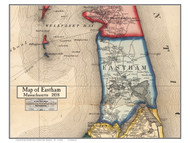 Eastham Poster Map, 1858 Barnstable Co. MA