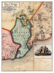 Marshpee Poster Map, 1858 Barnstable Co. MA