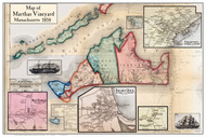 Matha's Vineyard Poster Map, 1858 Barnstable Co. MA