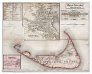 Nantucket Poster Map, 1858 Barnstable Co. MA