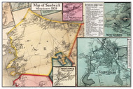 Sandwich Poster Map, 1858 Barnstable Co. MA