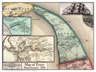 Truro Poster Map, 1858 Barnstable Co. MA