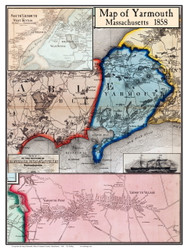 Yarmouth Poster Map, 1858 Barnstable Co. MA