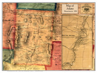Adams Poster Map, 1858 Berkshire Co. MA