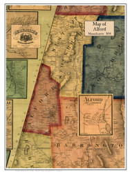 Alford Poster Map, 1858 Berkshire Co. MA