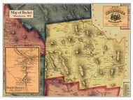 Becket Poster Map, 1858 Berkshire Co. MA