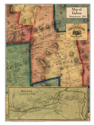 Dalton Poster Map, 1858 Berkshire Co. MA