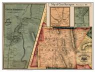 Great Barrington Poster Map, 1858 Berkshire Co. MA