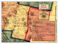 Hinsdale Poster Map, 1858 Berkshire Co. MA