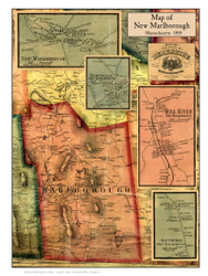 New Marlborough Poster Map, 1858 Berkshire Co. MA