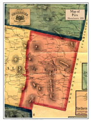 Peru Poster Map, 1858 Berkshire Co. MA