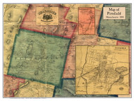Pittsfield Poster Map, 1858 Berkshire Co. MA