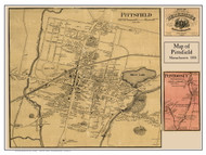 Pittsfield Village Poster Map, 1858 Berkshire Co. MA