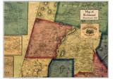Richmond Poster Map, 1858 Berkshire Co. MA