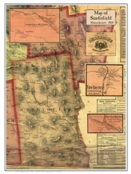 Sandisfield Poster Map, 1858 Berkshire Co. MA