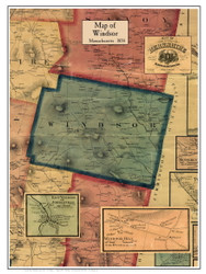 Windsor Poster Map, 1858 Berkshire Co. MA