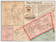 Mansfield Poster Map, 1858 Bristol Co. MA