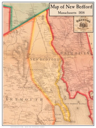 New Bedford Poster Map, 1858 Bristol Co. MA