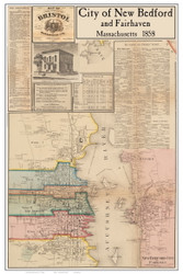 New Bedford City & Fairhaven Poster Map, 1858 Bristol Co. MA