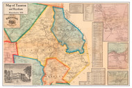 Taunton & Raynham Poster Map, 1858 Bristol Co. MA