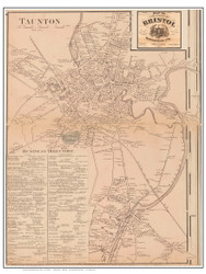Taunton Village Poster Map, 1858 Bristol Co. MA