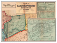 Chicopee Poster Map, 1857 Hampden Co. MA
