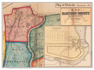 Holyoke Poster Map, 1857 Hampden Co. MA