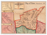 Palmer Poster Map, 1857 Hampden Co. MA