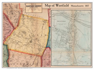 Westfield Poster Map, 1857 Hampden Co. MA