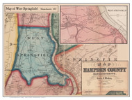 West Springfield Poster Map, 1857 Hampden Co. MA