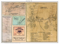 Amherst Village Poster Map, 1860 Hampshire Co. MA