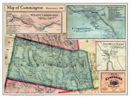 Cummington Poster Map, 1860 Hampshire Co. MA