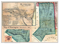 Huntington Poster Map, 1860 Hampshire Co. MA
