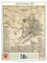 Northampton City Poster Map, 1860 Hampshire Co. MA
