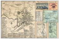 Northampton Village Poster Map, 1860 Hampshire Co. MA