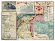 South Hadley Poster Map, 1860 Hampshire Co. MA